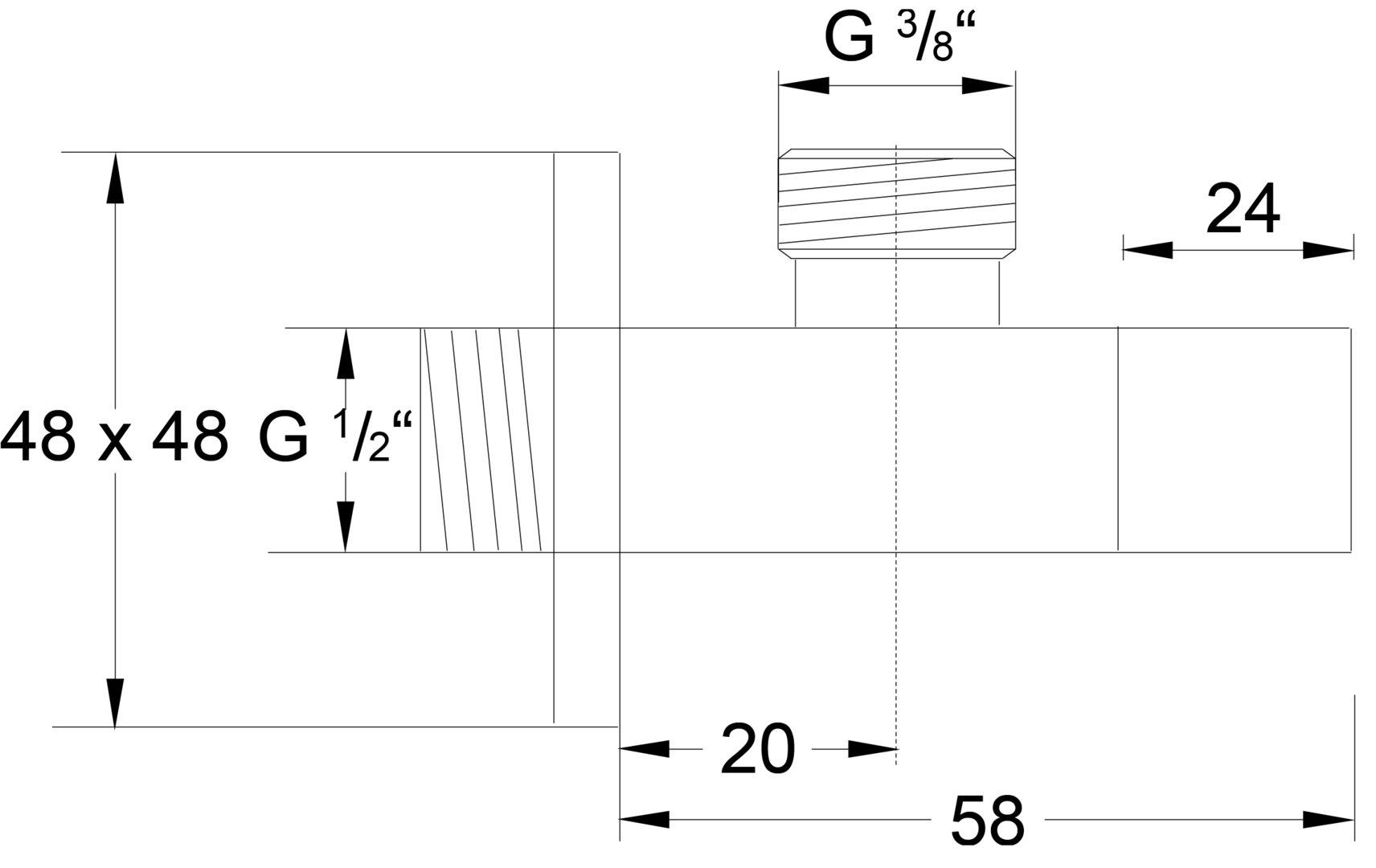 serie design eckventil 1 2 mit 3 8 anschluss. Black Bedroom Furniture Sets. Home Design Ideas