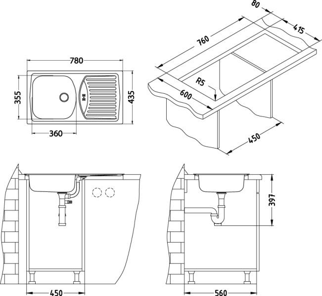 Alveus Basic 150 Spülbecken Edelstahl größe 780 x 435 mm  ~ Spülbecken Maße