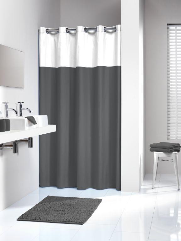 Double Grau Duschvorhang Textil Duvo Grosse 180x200 Cm Waschbar