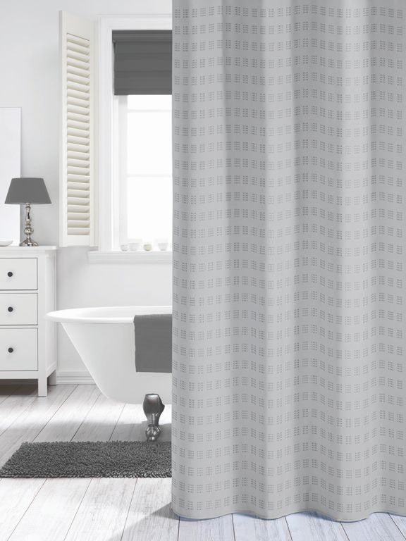 Quadretta Grau Duschvorhang Textil Duvo Grosse 180x200 Cm Waschba