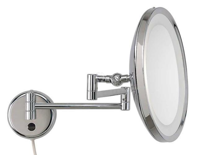 led kosmetikspiegel rund 22cm 3 fach chrom direktanschlu. Black Bedroom Furniture Sets. Home Design Ideas