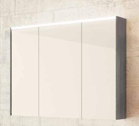 sieper khalix spiegelschrank mit led beleuchtung holzdekor weiss. Black Bedroom Furniture Sets. Home Design Ideas