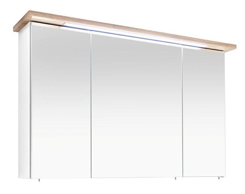 pelipal spiegelschrank cesa iii mit led wei eiche 110x72 cm. Black Bedroom Furniture Sets. Home Design Ideas