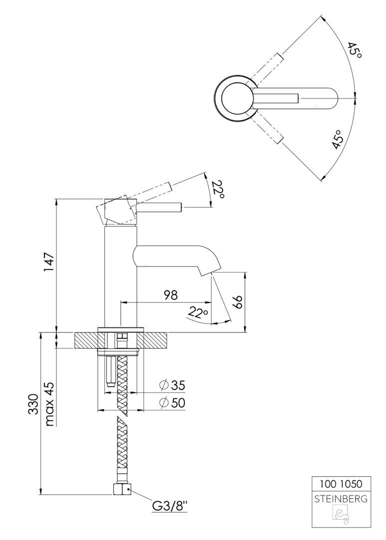 steinberg serie waschtisch einhebelmischbatterie chrom k. Black Bedroom Furniture Sets. Home Design Ideas
