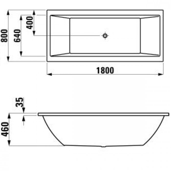 laufen pro rechteck badewanne sonderaktion farbe wei ma e 180x80. Black Bedroom Furniture Sets. Home Design Ideas