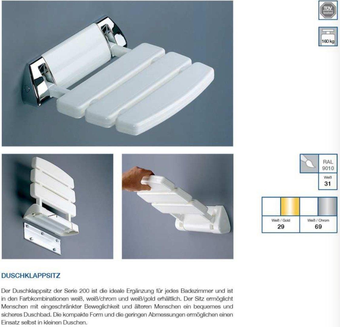 coram promed serie 200 duschklappsitz mit befestigung weiss chrom. Black Bedroom Furniture Sets. Home Design Ideas