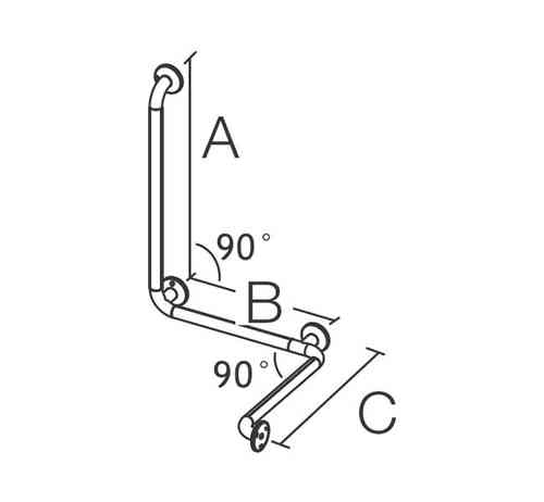 CoramproMed Serie200 Wandhaltegriff inkl. Senkrechtstütze 455x575x770mm