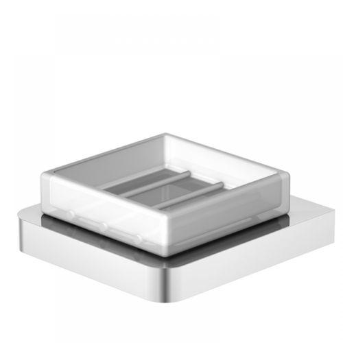 Steinberg Serie 420.2201 Seifenhalter mit Glas Satiniert weiss, Chrom