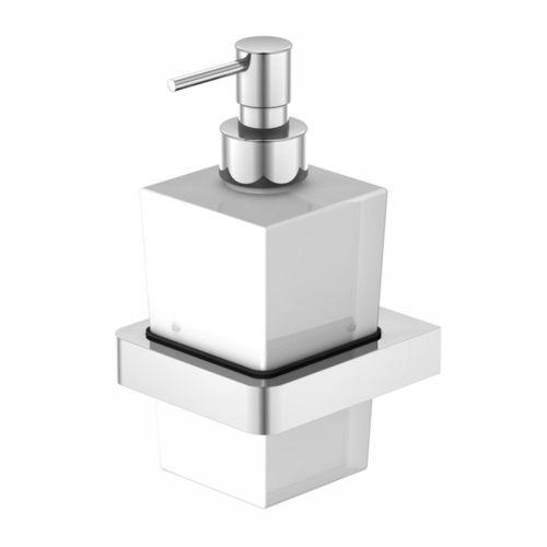 Steinberg Serie 420.8001 Wand Seifenhalter mit Glas satiniert weiss, Chrom