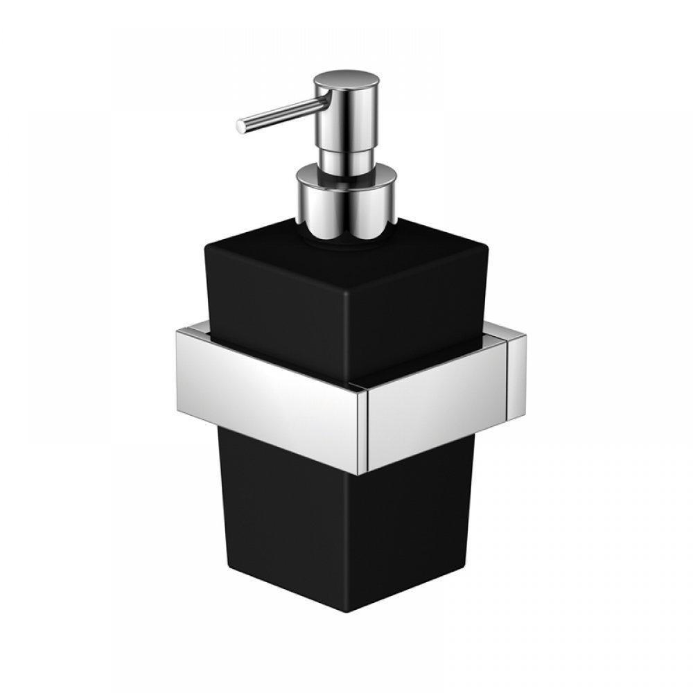 serie wand seifenhalter mit glas satiniert schwarz chrom. Black Bedroom Furniture Sets. Home Design Ideas