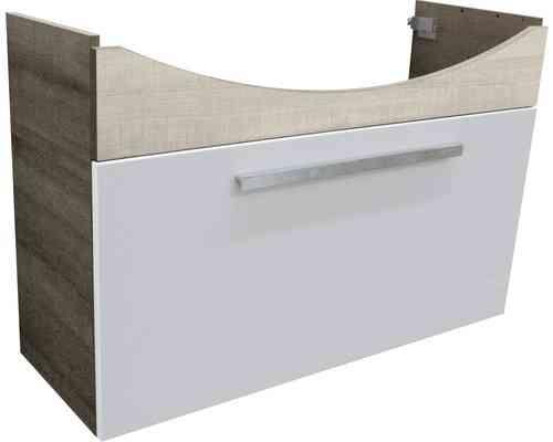 Fackelmann A-Vero Waschtischunterschrank Schublade Weiß/Graueiche-Optik 99cm Breite