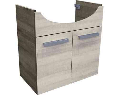 Fackelmann A-Vero Waschtischunterschrank mit 2 Türen Graueiche-Optik 63cm Breite