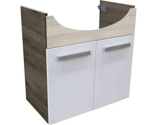 Fackelmann A-Vero Waschtischunterschrank 2 Türen Weiß/Graueiche-Optik 66cm Breite
