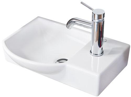 Fackelmann Gäste WC Waschtisch aus Keramik links Farbe Weiß 45 cm Breite