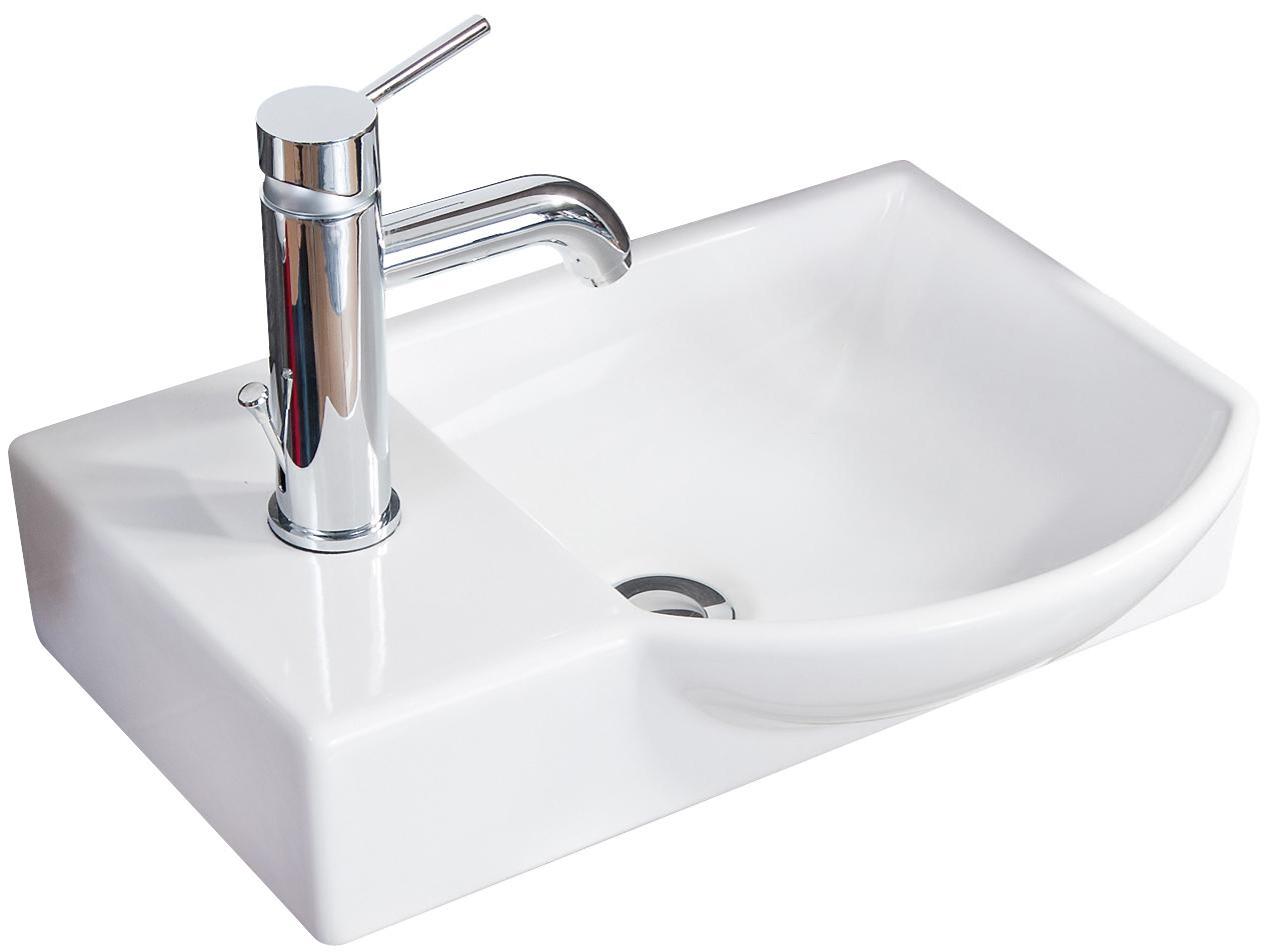 Fackelmann Gäste WC Waschtisch aus Keramik rechts Farbe Weiß 20 cm Breite