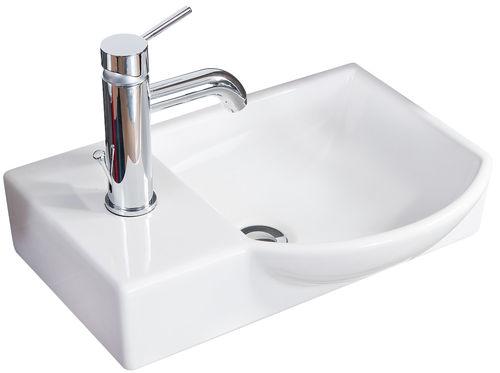 Fackelmann Gäste WC Waschtisch aus Keramik rechts Farbe Weiß 45 cm Breite