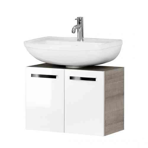 Fackelmann A-Vero Waschtischunterschrank mit 2 Türen Weiß/Graueiche-Optik 63cm Breite