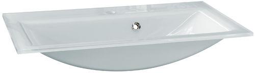 Fackelmann Waschtisch aus Glas Farbe Weiß 80 cm optional mit Beleuchtung
