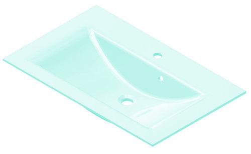 Fackelmann Waschtisch aus Glas Farbe Mintgrün 80 cm optional mit Beleuchtung
