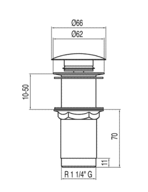 ventil f r waschbecken ohne berlauf 66 mm click clack chrom. Black Bedroom Furniture Sets. Home Design Ideas