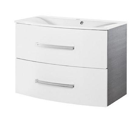 Fackelmann Lugano Waschtisch-Unterbau Breite 80 cm Farbe Weiß-glanz/Pinie-Anthrazit