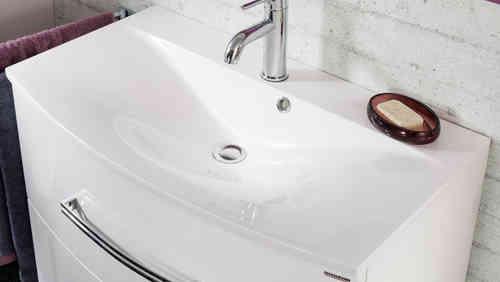Fackelmann Gussbecken Farbe weiß, geschwungen Breite 81 cm Stärke 1,5 cm