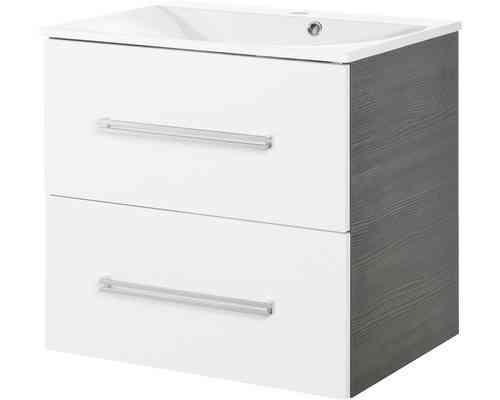 Fackelmann Como Waschtisch-Unterbau Breite 60 cm Farbe Weiß-glanz/Pinie-Anthrazit