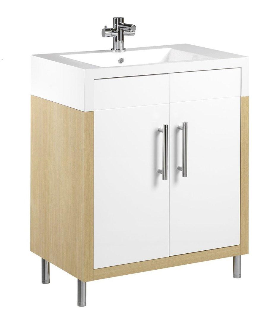 Tiger Serie Boston Waschtisch Unterschrank Weiß/Eiche mit Türen Breite 20 cm