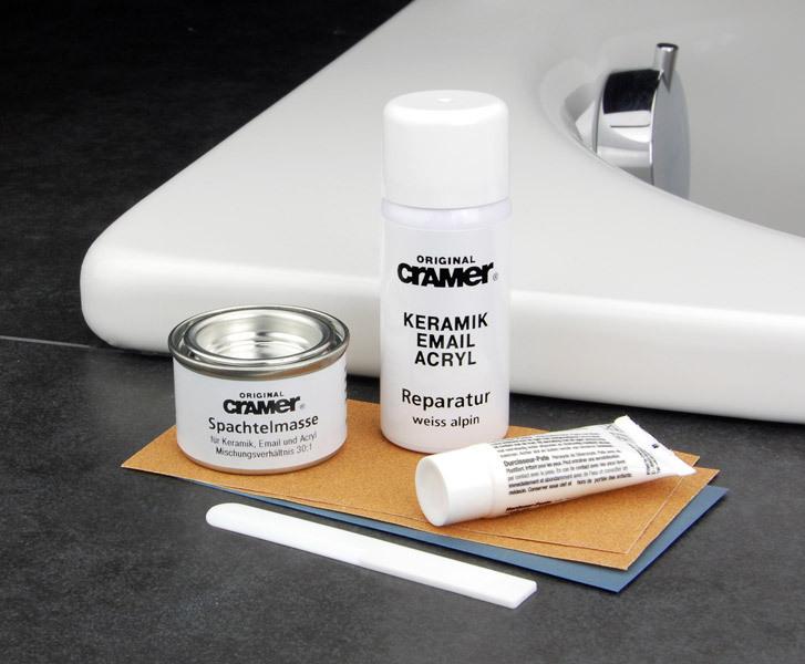 cramer reparatur keramik email acryl reparatur set wei alpin. Black Bedroom Furniture Sets. Home Design Ideas