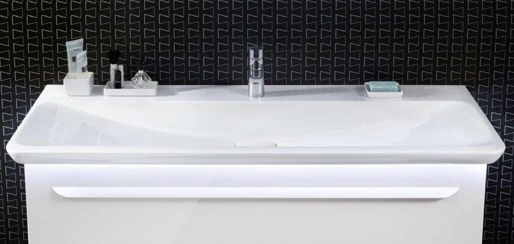 Lanzet M9 Mineralguss-Waschtisch Weiß 127,5 cm LED-Beleuchtung