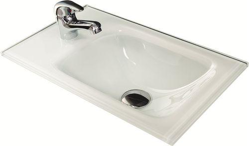 Fackelmann Gäste WC Waschtisch aus Glas Farbe Weiß 45 cm Breite optional mit Beleuchtung