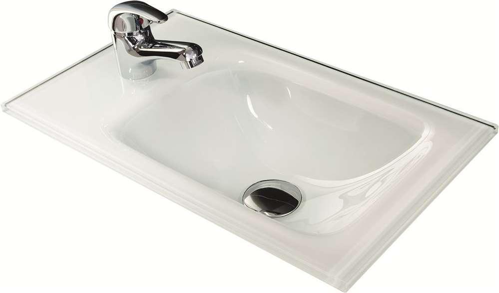 Waschtisch Aus Glas Farbe Weiß 45 Cm Breite Optional Beleuchtung