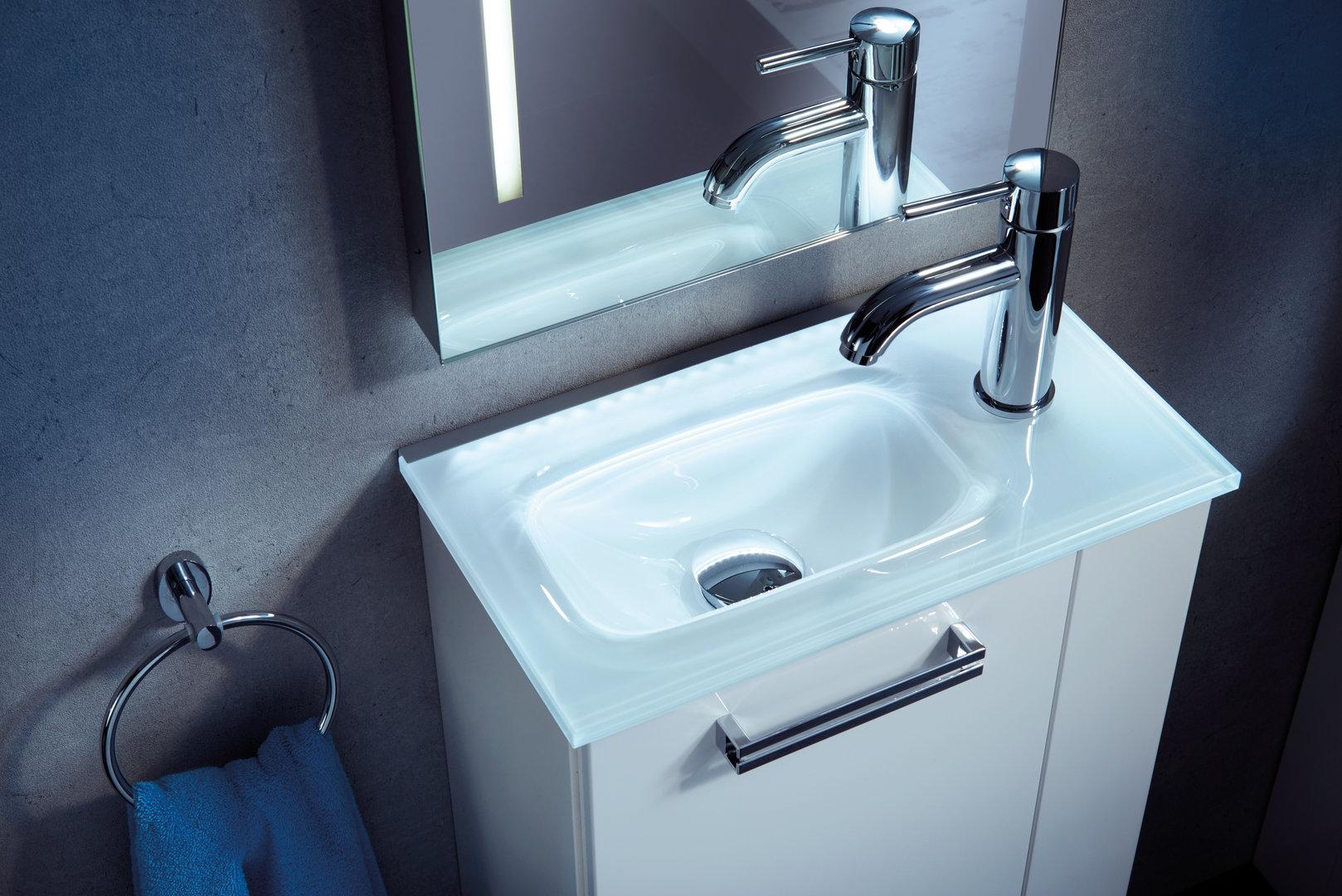 waschtisch aus glas farbe wei 45 cm breite optional beleuchtung. Black Bedroom Furniture Sets. Home Design Ideas