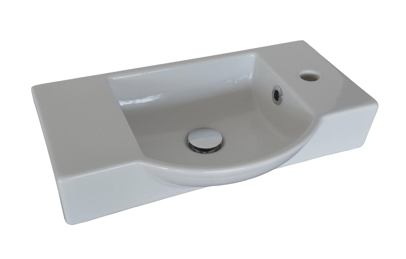 Fackelmann Gäste-WC Keramikbecken DS Farbe Weiß Breite 54,5 cm Armatur  rechts