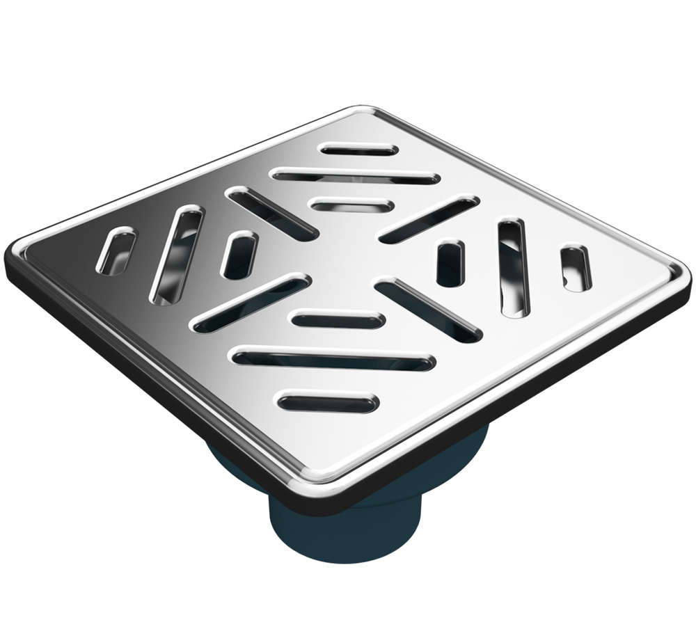 Bodenablauf mit Edelstahlrost und Edelstahlrahmen (304) 150x150