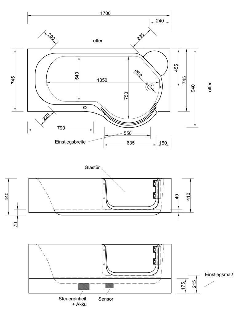 schr der pazifik rechts badewanne mit t r inkl sch rze 170x75 94. Black Bedroom Furniture Sets. Home Design Ideas