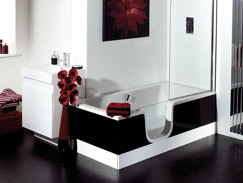 schr der atlantik links badewanne mit t r sch rze optional 170x8. Black Bedroom Furniture Sets. Home Design Ideas