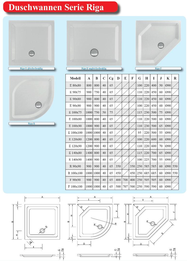 Duschwanne maße  Schröder Wannentechnik Riga E Duschwanne Material Acryl 100x90x5