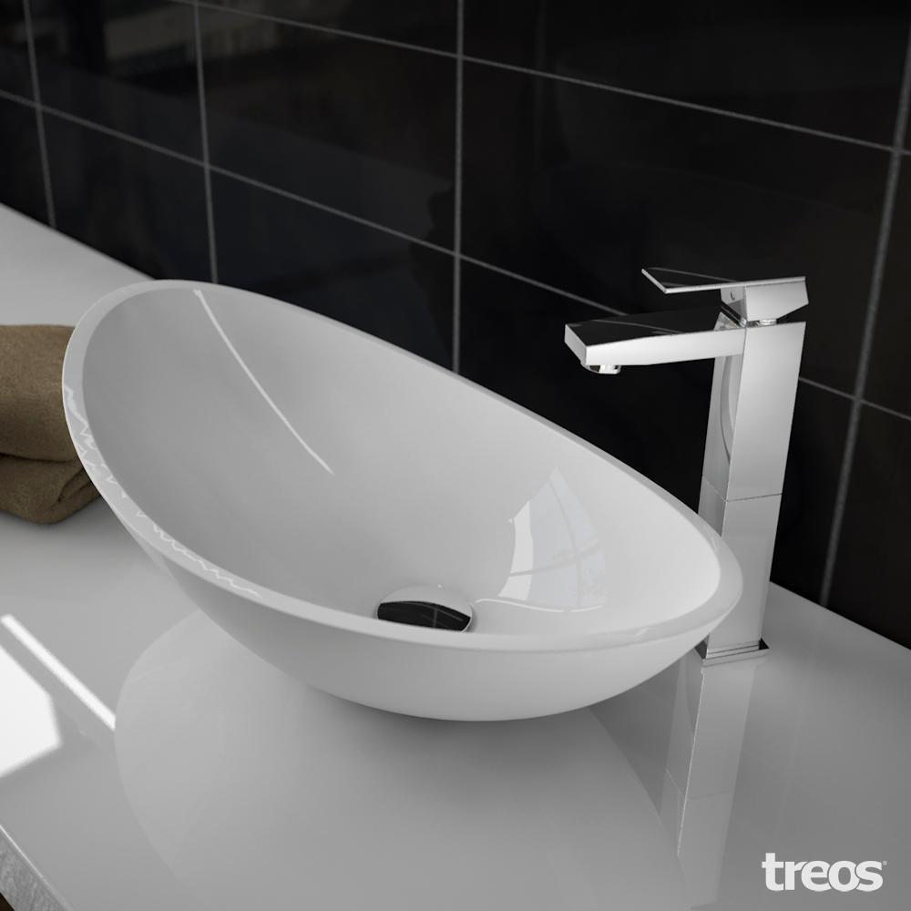 Treos serie mineralguss aufsatz waschbecken 560x320mm - Aufsatzwaschbecken ohne hahnloch ...