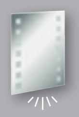 Fackelmann Spiegel Karo 60 cm LED-Beleuchtung und Ambientebeleuchtung